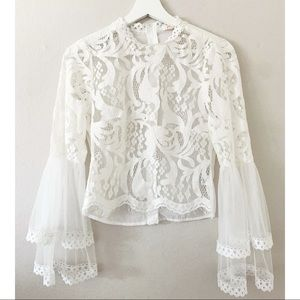 White Bell Sleeve Laced Blouse